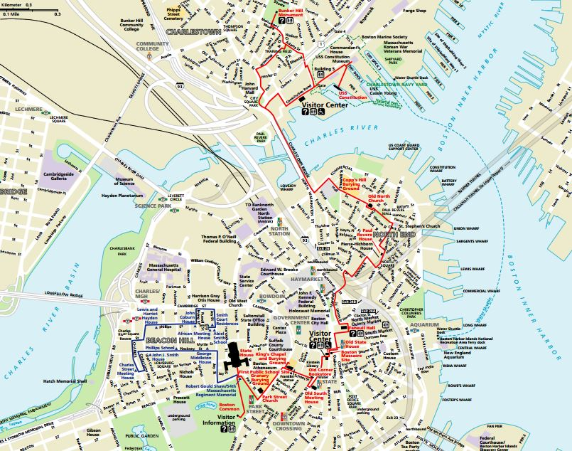 The Freedom Trail map