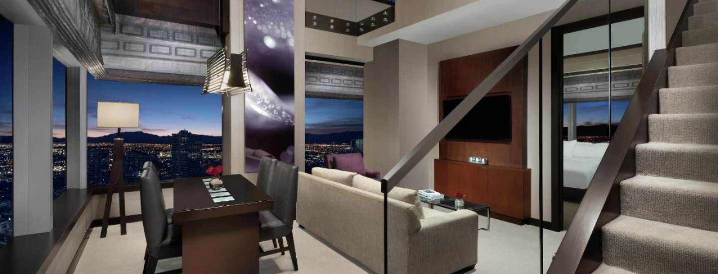 Vdara hotel two bedroom loft living room